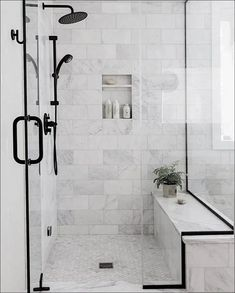 Black Bathroom Design Inspiration - Boxwood Ave - - Take a peek at the design plan for our latest bathroom remodel: a black bathroom with wood vanity and gorgeous subway tile with splashes of marble! Bathroom Design Inspiration, Bad Inspiration, Bathroom Interior Design, Design Ideas, Modern Small Bathroom Design, Shower Inspiration, Contemporary Bathrooms, Interior Ideas, Best Bathroom Tiles
