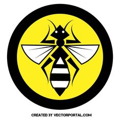 Bee inside yellow circle vector image.