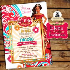 Elena of Avalor Invitation - Elena of Avalor Birthday Party - Elena de Avalor…