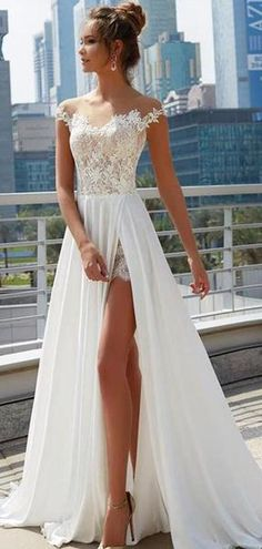 Charming Lace Satin Chiffon Sheer Jewel Neckline A-Line Wedding Dress With Lace Appliques Slit preserving wedding dress/flowy wedding dresses/satin wedding dress/highneck wedding dresses/beach wedding dress/ Western Wedding Dresses, Colored Wedding Dresses, Dream Wedding Dresses, Bridal Dresses, Wedding Gowns, Maxi Dresses, Summer Dresses, Wedding Reception Dresses, Wedding Venues