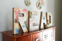 Home Decor- Wall Sign- Vintage Map Original Art- 'READ' sign - One of a kind.  via Etsy.