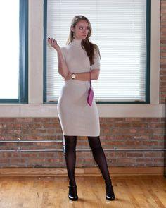 White victoria's secret turtleneck sweater dress, hanes tights, Zara pumps, Coach wristlet, Kate Spade watch, Anne Klein pearls.