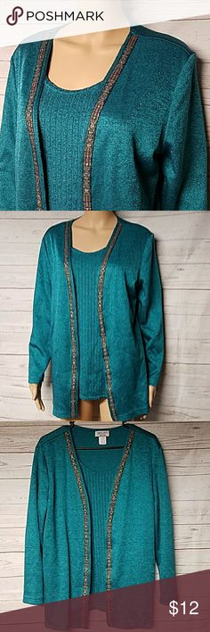 Dress Savvy NY Embellished Turquoise Dress Blouse Solid & Stripe Design(Solid Outershell/Striped Pattern Under) with Decorative Pattern embellishment applied to edge of outer shell. Color is like a turquoise/teal. Great quality top in excellent used condition. 65% Polyester, 35% Cotton  Size 14 👀See SALE ALERT FOR CURRENT SALE 🛍 25% OFF BUNDLES OF 3 ✔REASONABLE OFFERS ACCEPTED 📦 BIG BUNDLES =💰BIG SAVINGS DRESS SAVVY NY Tops