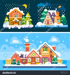 Winter is coming! So here're some nice winter day and night landscapes. Stock flat vector illustration set.