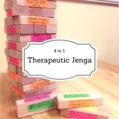 4 Games in The Power of Jenga! I have gone through the depths of the Interwebs searching for play therapy techniques and interventions that stand the test of time, and this one keeps on showing up! I have seen many variations of… Group Therapy Activities, Therapy Games, Activities For Teens, Counseling Activities, School Counseling, Therapy Ideas, Speech Therapy, Social Work Activities, Therapy Tools