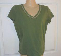 LIZ CLAIBORNE Olive Green Top /blouse Size Medium Beaded Neckline Cotton #LizClaiborne #PulloverTopBlouse #Casual