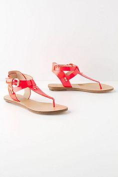 Anthro - neon sensation t-straps Neon Sandals, Lace Up Sandals, Gladiator Sandals, Shoes Sandals, Flats, Golden Shoes, Crazy Shoes, T Strap, Sexy Outfits