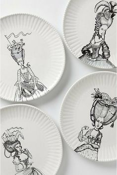 Ladies-In-Waiting Dinner Plate - contemporary - dinnerware - Anthropologie Ceramic Plates, Ceramic Art, Decorative Plates, Ceramic Painting, Marie Antoinette, Contemporary Dinnerware, Contemporary Ceramics, Estilo Tropical, Personalized Plates