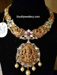 Nakshi Peacock Necklace with Lakshmi Pendant photo