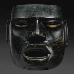 Olmec greenstone mask, Puebla region, Middle Preclassic, ca. 900-600 B.C. - Sotheby's