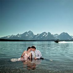 A mountain elopement followed by an impromptu trash the dress session in the cool waters of Grand Teton National Park.