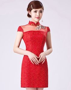 Sexy Red Lace Illusion Neck Modern Bodycon Chinese Cheongsam Dress - iDreamMart.com