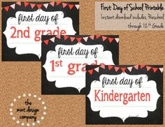 INSTANT DOWNLOAD First Day of School Printable Sign Chalkboard Includes EVERY Grade! Perfect for students and teachers on Etsy, $5.00