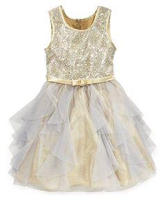Bonnie Jean Girls Dress, Girls Sequin Glitter Tulle Dress