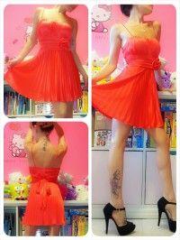 A perfect red satin dress, soooo beautiful!