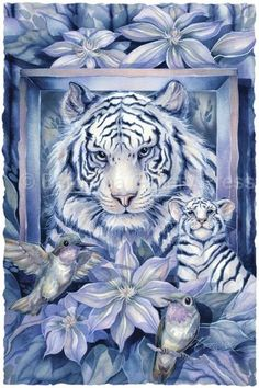 At Home In The Garden by Jody Bergsma ~ wild animals ~ white tigers ~ hummingbirds ~ flowers