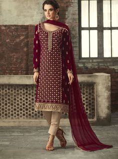 Maroon With Gold Ethnic Embroidered Pant Suit is especially crafted for showcasing glamorous style and ethnic elegance with its unique embroidered combination of beautiful zari and thread work annotated perfectly on straight velvet top Salwar Suits, Salwar Kameez, Sharara, Churidar, Punjabi Suits, Casual Wear, Casual Outfits, Indian Clothes Online, Party Wear Lehenga