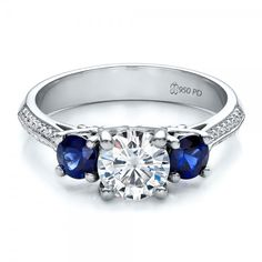 Custom Blue Sapphire and Diamond Engagement Ring Flat View