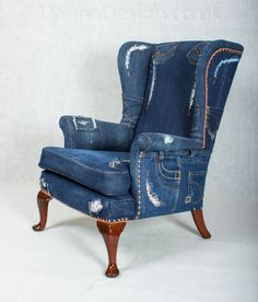Charming Denim Jeans Wingback Armchair Parker Knoll Sofa Chair Patchwork Furniture