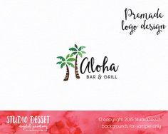 Restaurant Logo Design, Palm Logo Bar & Grill Watercolor Logo Design, Chef Logo Design, Hand Drawn, Small Business Logo Graphic Design PL014 by StudioDesset on Etsy