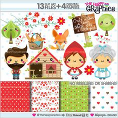 Red Riding Hood Clipart Little Red Riding Hood by TheHappyGraphics