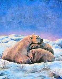 "Wildlife Art International: Original Polar Bear Fine Art, Bear Illustration Pastel Painting ""Polar Bear Family"" by Colorado Artist Nancee jean Busse"