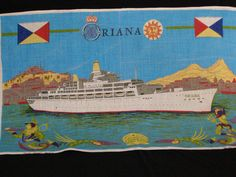 Souvenir Tea Towel P & O Cruise Ship Oriana Irish Linen by parkie2, $9.50