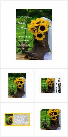 Sunflowers Country Rustic Chic WEDDING SET COLLECTION Western and Cowboy Boots Pretty Personalized Wedding Stationery Invites Announcements Invitations Postage Stamps Stickers Labels RSVP Thank You Cards & More!