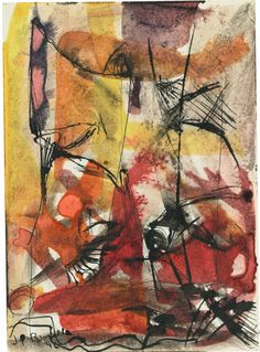 Jean-Paul Riopelle Untitled, watercolor and ink on paper. Canadian Painters, Canadian Art, Abstract Expressionism, Abstract Art, Tachisme, Art Moderne, Modern Art, Contemporary Art, Watercolor And Ink