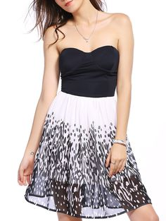 So Cute! Black and WHite Fashion Spliced Printed Tube Dress For Women #Black_and_White #Printed_Dresses #Summer_Dresses #Strapless_Dresses
