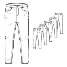 Men's Denim Jeans Style Trouser Technical Drawing                                                                                                                                                                                 More