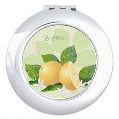 Lemons Citrus Fruit Botanical Green Vanity Mirror - flowers floral flower design unique style