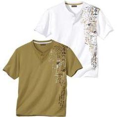 2er-Pack T-Shirts Maori Spirit mit Henleykragen Atlas For Men