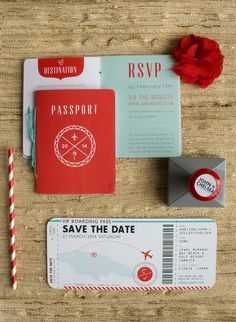 Wedding Passport invite & boarding pass save the date in turquoise & red.
