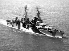 The U.S. Navy heavy cruiser USS Indianapolis (CA-35) underway in 1944.