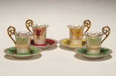 Royal Vienna porcelain demitasse cups and saucers