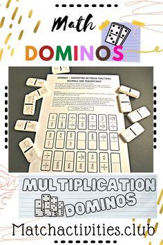 Use this math dominos printout to create a fun math game for your students. Perfect for a math center in an elementary classroom. This printable domino activity covers multiplication and comparing fractions decimals