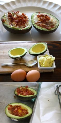 Avocado Bacon and Eggs  Such a good idea and SO yummy.