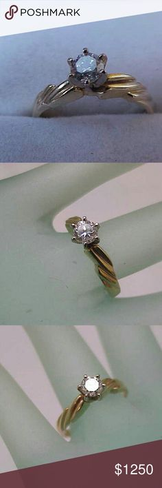 14k gold .50ct diamond engagement ring Si in clarity and h in color.  The diamond is a high quality, bright and shiny! . Stamped 14k. Weight 2.6gr. Size 7. Jewelry Rings