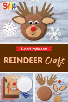We have an adorable reindeer craft for you! Everyone knows Rudolf with the red nose. Santa Crafts, Reindeer Craft, Crafts For Kids To Make, Art For Kids, Kids Christmas, Christmas Crafts, Baby Food Jars, Craft Accessories, New Years Eve Party