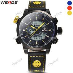 WEIDE Brand 30M Waterproof Analog-digital Business Calendar Alarm Men Wrist Watch with Leather Band WWT-378301