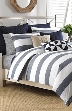 navy blue and grey striped comforter set