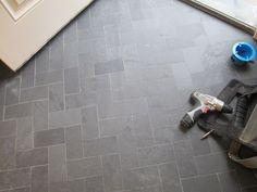 slate tile mudroom ideas   One of my favorite things...the herringbone pattern.
