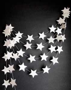 White Stars Garland  Outer Space Decor  Kids Room door ArtsDelight, $20,00