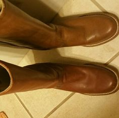 Frye boots Good used condition, some discoloration to left boot Frye Shoes Heeled Boots