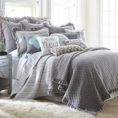 Inject a layer of understated beauty to your bedroom with the Levtex Home Penelope Stripe Quilt Set. Thin stripes rendered in a soothing palette of greys and whites lend subtle texture to any top of bed, for a perfect blend of comfort and style. Home, Farmhouse Bedding, Farmhouse Bedding Sets, Bed, Bedroom Decor, Grey Bedding, Luxury Bedding, Bedding Sets, Bedding Collections