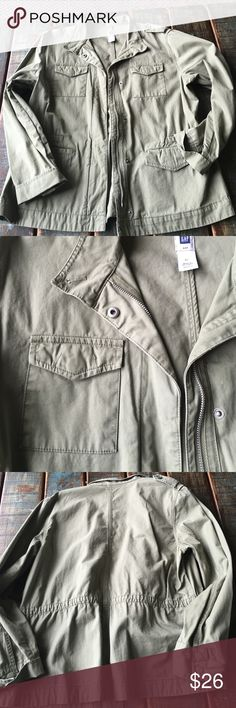 Gap Utility Jacket 💕 Hottest color of the season; army green. It is a bit brighter of a color than what is depicted; definitely looks more green. Zips up front, and has snap closure too. Size XL. So so cute! Great condition! GAP Jackets & Coats Utility Jackets