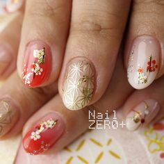 Colorful Nail Designs, Beautiful Nail Designs, Nail Art Designs, Cherry Blossom Nails, New Years Nail Art, Nail Art Photos, Nail Art Techniques, Classic Nails, New Year's Nails