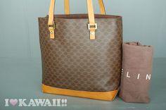 Authentic CELINE Brown Macadam PVC / Brown Leather Shoulder Bag ...