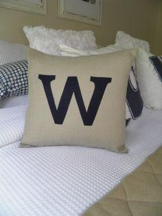 Linen lettered applique cushion